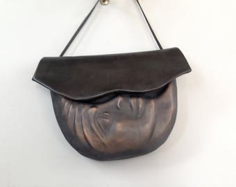 "Leather Moon Purse ""Pursona"" Face Bag ""Second"", by Einbender Studios in  Antique Black"