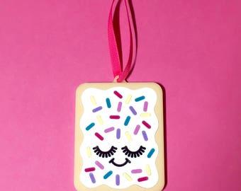 Christmas Ornament - Pop Tart Ornament - Acrylic Christmas Ornament  - Cute Christmas Ornament  - Christmas Decoration - Pink Christmas