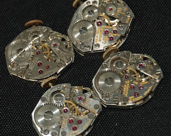 4 Vintage Watch Movements Parts Steampunk Altered Art Assemblage R 67