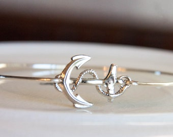 Anchor Bangle, Women's Anchor Bracelet, Silver Nautical Jewelry, Anchor Jewelry, Nautical Bracelet, Anchor Bangle Bracelet, Navy Style