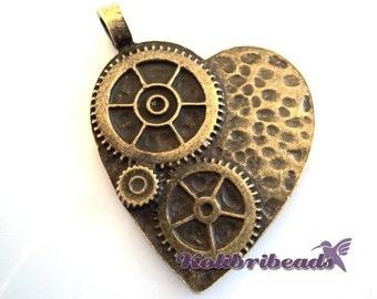 1x Large Steampunk Cog Wheel Heart Pendant 42 mm - Antique Gold