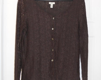 Brown Lace Long Sleeve Blouse by J. Jill.