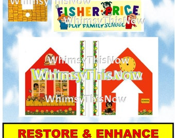 Vintage Fisher Price Little People Replacement Litho Sticker Decal 923 School Play Family