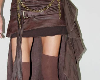 On - skirt, faux leather, bronze Brown, short in front and longer at the back