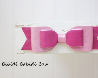 Headband- Rose pink bow- Faux leather bow- infant headband- Baby girl headband- Gift- Girl headband - Hair accessory - Toddler headband