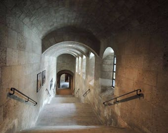 Shadowed Hallways - Met Cloisters Museum - New York Architecture - Arches Hallway - Stone Arches - Architecture Photograph