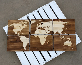 Wood Stained World Map