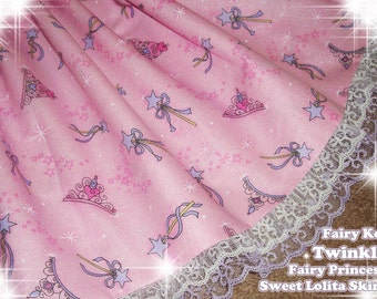 Pretty Fairy Kei Twinkle Fairy Princess Pink and Purple Sparkly Sweet Lolita Skirt