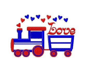 Love Train Embroidery Design