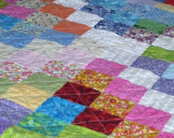 Trip around the world, Colorful bedspread, Bed Cover, Quilt, Modern Quilts