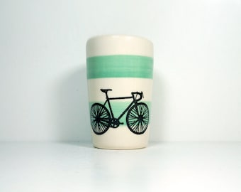 itty bitty cylinder / vase / cup with a Road Bike print on Blue Green stripes, Made to Order / Pick Your Color / Pick Your Bike