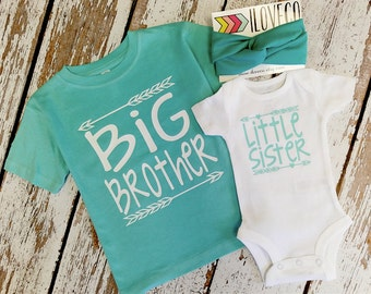 Big Brother Little sister outfit  / Big brother little sister set / Big Brother T-Shirt / Headband included