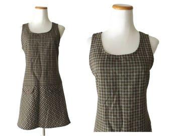 Plaid Jumper Dress 1990s 90s Grunge Mini Dress Drop Waist Tunic Brown Sleeveless Babydoll Hipster Size Small S