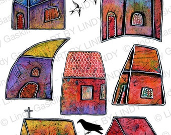 Colorful Small Whimsical Houses Art Digital Download, Village Houses Artwork, Small Town Art with Swallows Printable by Lindy Gaskill