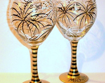 Gold, Black & Ivory Fireworks Hand Painted Wine Glasses 2-21 oz New Years Eve Party Wedding Bridesmaids Bachelorette Party Mother of Bride