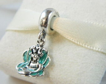 Disney Collection ARIEL AND SEASHELL Dangle / New / Threaded / Sterling Silver s925 / Fully Stamped.