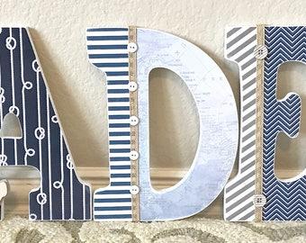 Nursery Name Sign, Navy and gray nursery decor, Wall Letters for Nursery, Boy Nursery Wall Decor, Nursery Wall Art, Decorative Letters