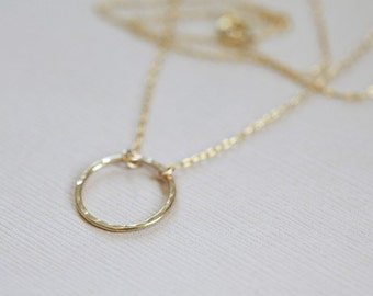 Eternity necklace, circle necklace, dainty necklace - gold filled