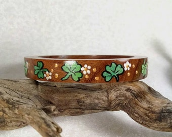 Shamrock Bangle, Wood Bangle, St. Patrick's Day, Shamrocks and Blossoms, Luck of the Irish