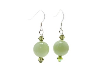 Sterling Silver 925 Earrings with Genuine Green Jade and Swarovski Crystals