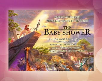 Lion king baby shower invitation jungle invitation disney lion king digital baby shower invitations personalised lion king invitation simba boy baby filmwisefo Images