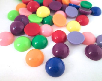 20 14mm round multicolor cabochons