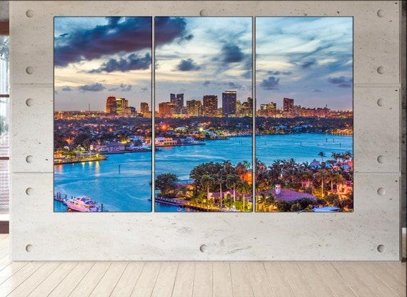 Fort Lauderdale Florida skyline canvas  Fort Lauderdale canvas art Fort Lauderdale wall decoration Fort Lauderdale large canvas
