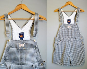 Plaid Overalls Shorts Denim Vintage Romper Black White Medium