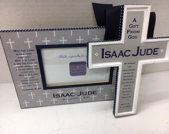 Baptism Frame  and Cross set with Bible verse and date
