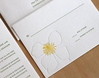 Garden Letterpress Wedding Invitation - Clematis Flower - elegant, tasteful, simple Letterpress Wedding Invitation