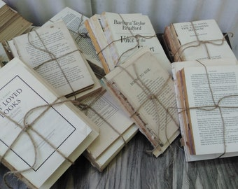 Distressed Book Set - Vintage Book Collection - No cover books - Vintage Book Bundle - Farmhouse - Neutral Decor
