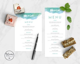Wedding Menu, Watercolor Wedding Menu, Printable Wedding Menu, Wedding Stationery