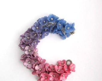 Floral Pink Blue Purple bracelet with clay flowers Colorful charm bridal jewelry Summer beach wedding cha cha Bridesmaid girl gift Polymer