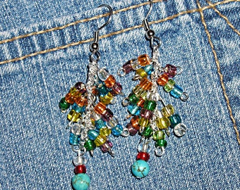 FREE Shipping! Rainbow Turquoise Hippie Super Dangle Earrings ET-RNBW-SD1