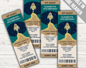 Space Party Invitation (Science Party Invitation). Editable PDF. Printable. Instant Download.