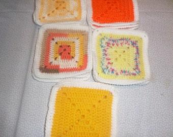 Granny squares, Afghan squares, set of 15,  hand crochet squares, Crocheted motifs, handmade motifs, blanket squares, Afghan crochet,