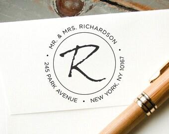 Custom Stamp, Pre-Inked Return Address Stamp, Custom Rubber Stamp, Personalized Stamp, Wedding Stamp, Bridal Shower, Fancy Monogram Font