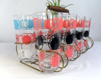 Mid Century Glassware 1950s Drinking Glass Set Vintage Pink Blue Black Polka Dot Glasses with Retro Glass Caddy Retro Bar Vintage Tumblers