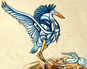 Blue Heron Nest Original Painting
