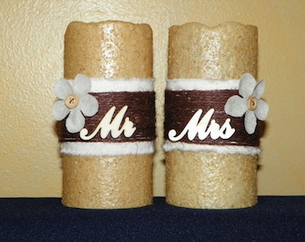 "Mr & Mrs 6"" Textured TIMER PILLAR Candles, Battery Operated"