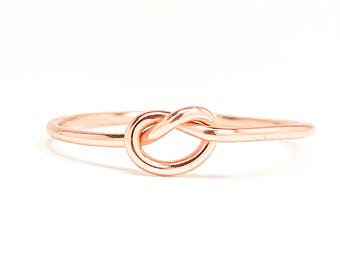 Rose Gold Knot Ring, Tie The Knot Ring, Love Knot Ring, Friendship Ring, Bridesmaid Rings, Rose Gold Ring, Knot Ring, Wedding Accessories