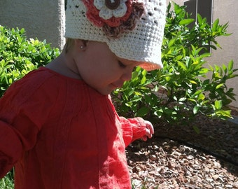 Creme-Colored Beanie with Brim and Triple-Layered Flower