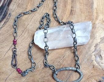 Genuine Pave Diamond Necklace | Oxidized Sterling Silver | Genuine Ruby | Gemstone | April Birthstone