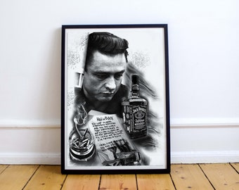 Johnny Cash Poster Print Canvas Home