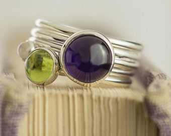 Stackable Mothers Ring | Amethyst Ring | Stackable Rings | Peridot Ring | Gemstone Ring | Stacking Ring | Birthstone Ring |February Birthday