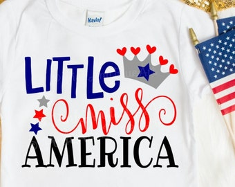 Little Miss America SVG - 4th of july svg - July 4th svg - Independence day svg - Memorial day - America svg - cuts file - DXF Png Pdf Eps