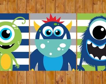 Monster Wall Art Decor Navy Blue Lime Green Grey Stripes Toddler Child's Boys Bedroom Set of 3 8x10 Digital JPG Files (252)