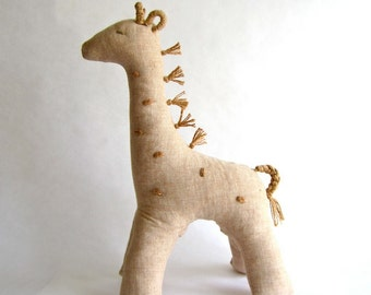 Giraffe, organic, color grown cotton, natural, eco friendly, brown, cosy, baby, shower gift, animal, can be vegan