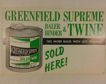 Greenfield supreme bailer twine hardware store advertisment cardboard vintage paper farm
