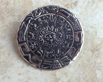 Vintage Sterling Silver Zodiac Round Medallion Eagle Mark